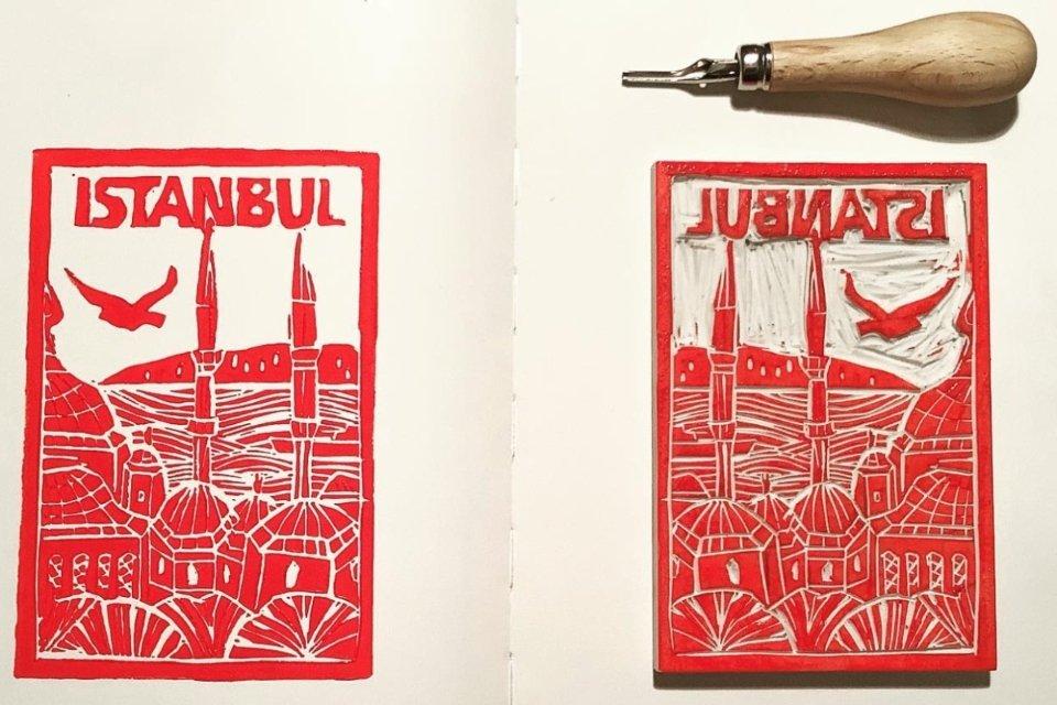 L'art de la linogravure à Istanbul - du dessin à la gravure